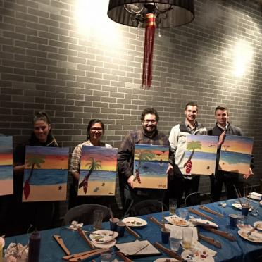 Some AV-ators enjoying paint night.