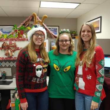 "The 2019 ""Ugly Sweater"" contest in the Sacramento office."