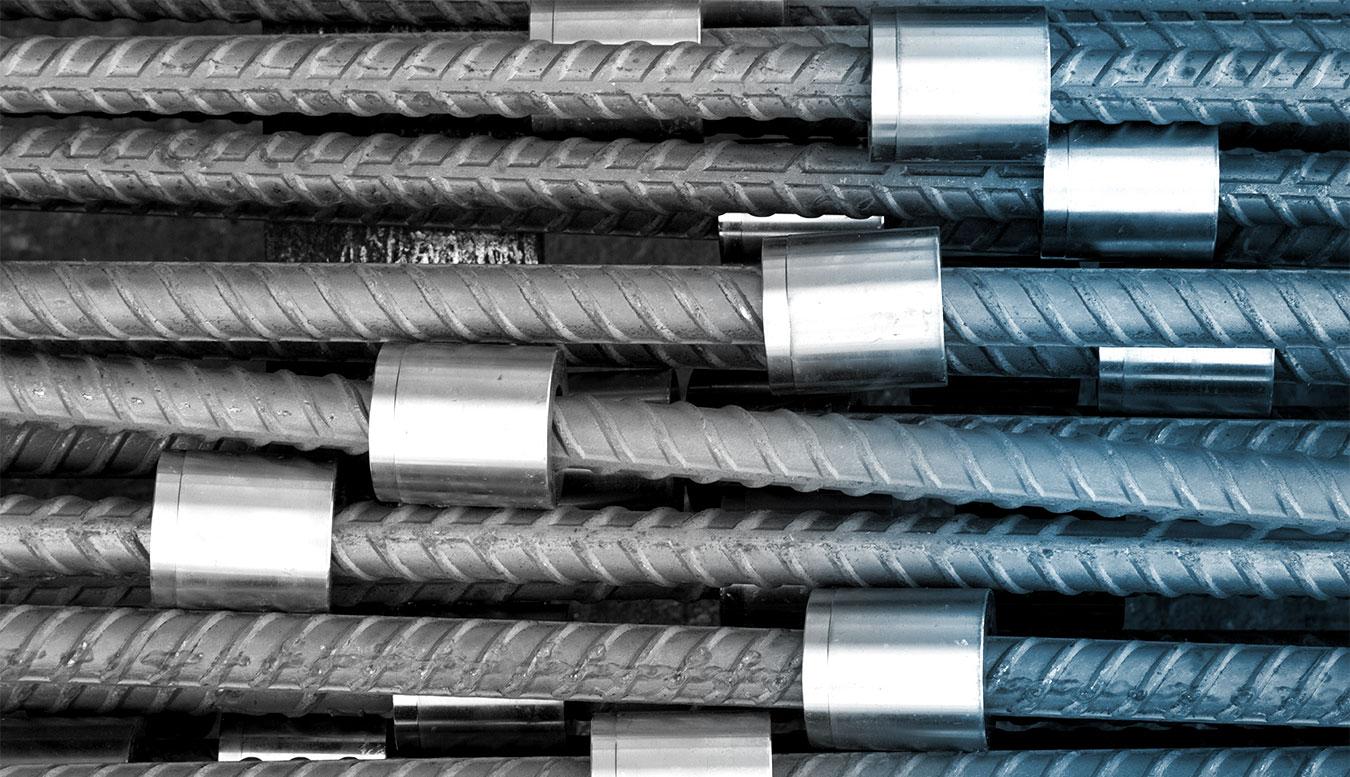 Spliced reinforcing steel (rebar)