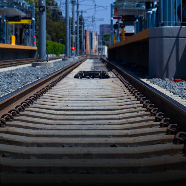 Railroad track in Los Angeles. Click for more information on our rail sector work.